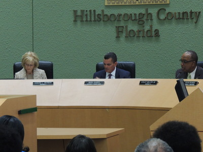 Hillsborough County Commissioners Sandra Murman, Mark Sharpe and Les Miller during a meeting in January. - Credit: Janelle Irwin, January 2014