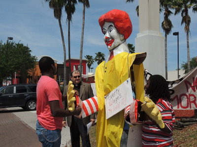 Fast Food workers in Tampa have gone on strike demanding a $15/hr wage. Now city workers in St. Pete want a hike in the minimum wage. - Credit: Janelle Irwin/WMNF News (Apr. 2014)