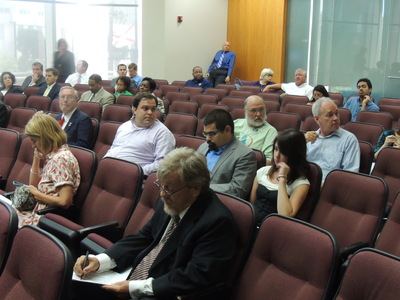Pro-transit activists spoke during public comment at a Hillsborough County Commission meeting because they couldn't speak at a transportation policy meeting. - Credit: Janelle Irwin