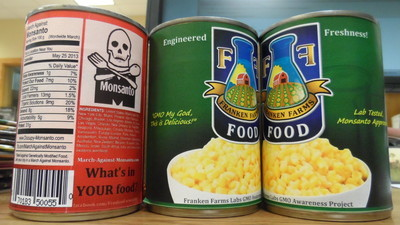 Tampa activists replaced some canned goods in a grocery store with newly labeled ones to draw attention to the dangers of GMO foods. - Credit: Sean Kinane