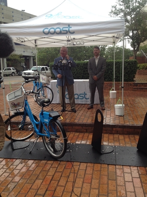 Mayor Bob Buckhorn and director of Coast Bike Share Eric Trull - Credit: Lisa Kauffman