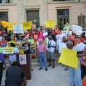 Fight for $15 on the steps of St Pete City Hall - Credit: Samuel Johnson