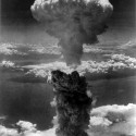 Mushroom cloud as an atomic bomb is dropped on Nagasaki, Japan, on August 9th 1945. photo from schriste/flickr