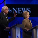Vermont Senator Bernie Sanders and Former Secretary of State Hillary Clinton at the Democratic Presidential debate from St. Anselm College in Manchester, NH, on Saturday. Photo by Disney ABC television group via flickr