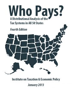 Cover of the report Who Pays? by the Institute on Taxation and Economic Policy