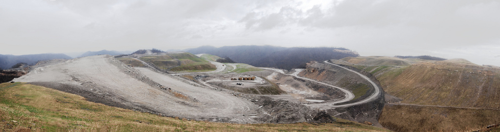 The mountaintop removal site at Kayford Mountain, West Virginia.