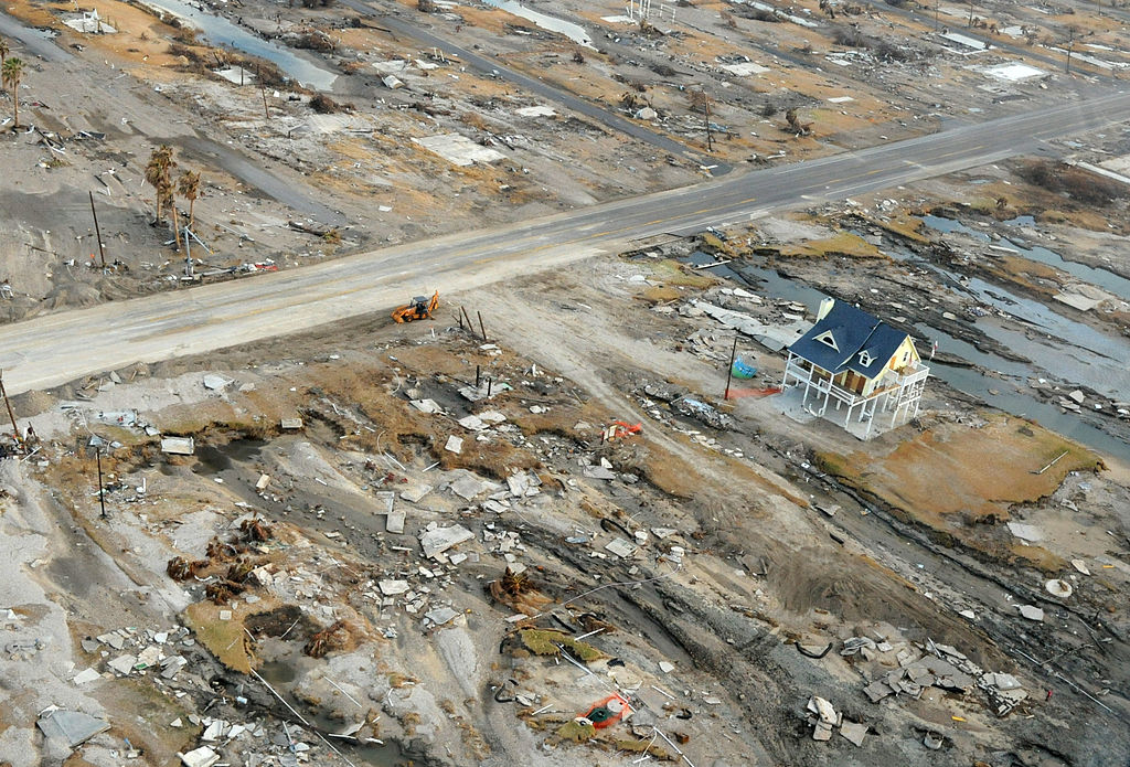 An aerial view of the storm surge damage Hurricane Ike inflicted upon Gilchrist, Texas.