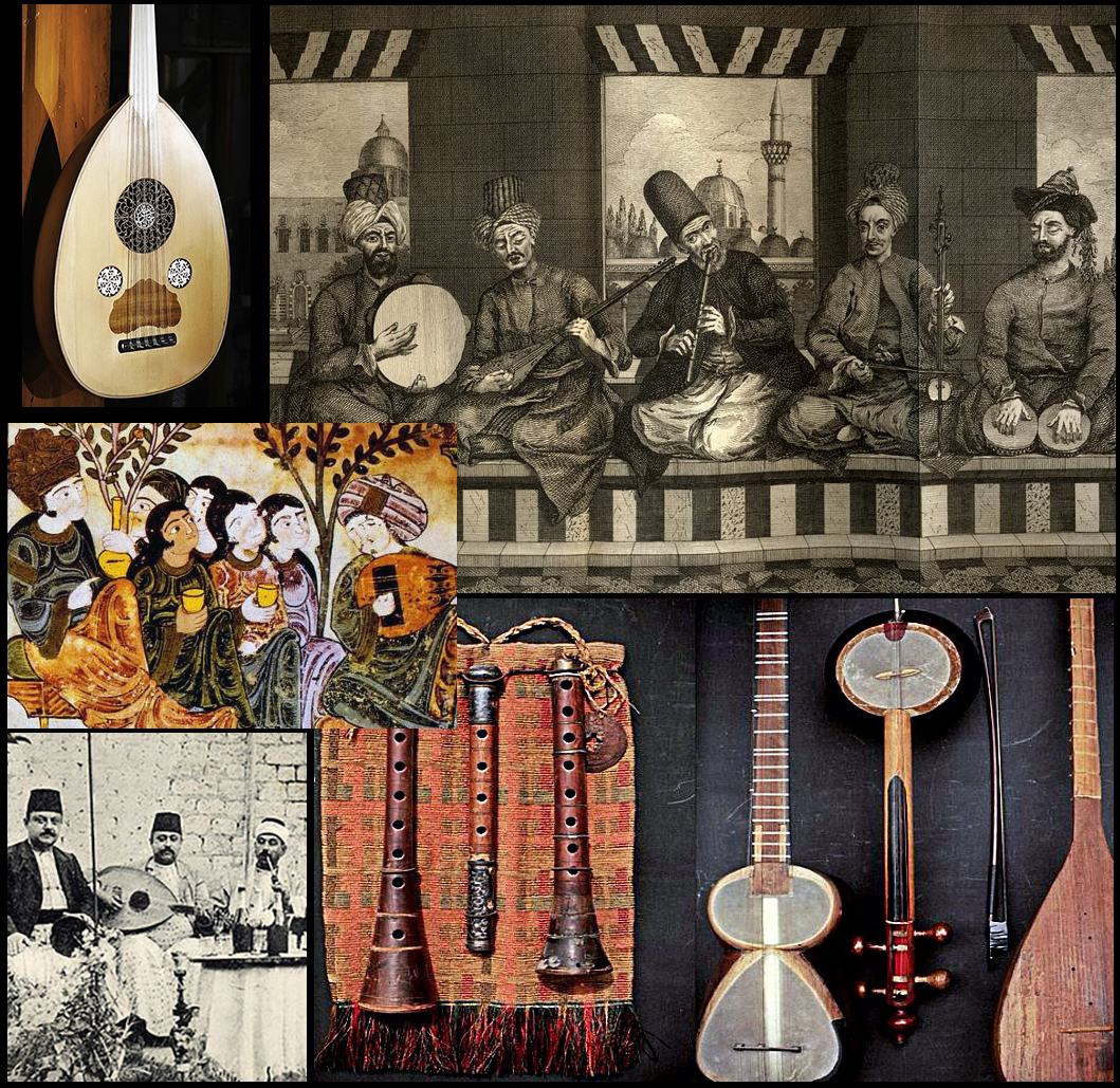 Traditional Judeo-Arabic music and instruments, images courtesy of Wikipedia Commons