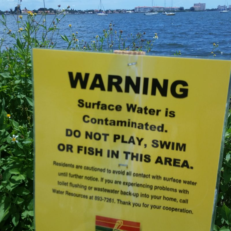 sewage dump sign St. Petersburg Gulfport Florida