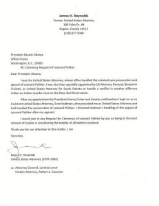 Letter from lawyer for clemency for Leonard Peltier