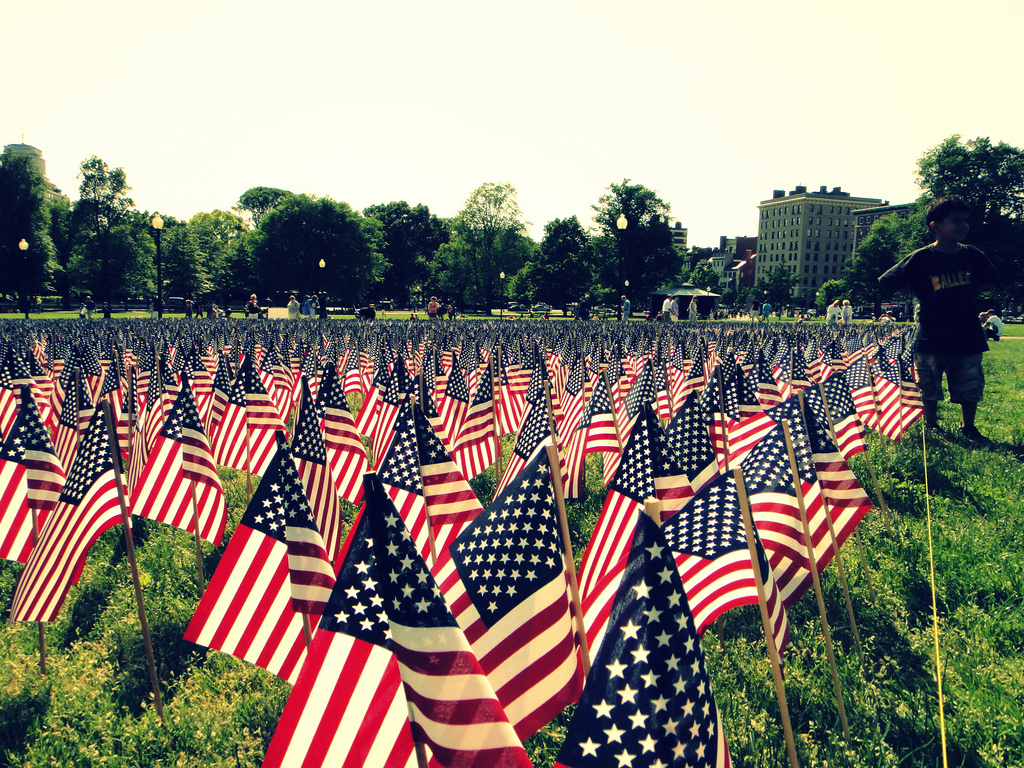 Memorial Day flags in Boston Common