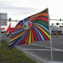 Photo of a flag from the Florida Peace Action Network Facebook page. protest Waffle House