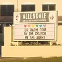 Allendale United Methodist Church sign supporting LGBTQ rights