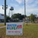 Sign about Nestle water grab in Florida