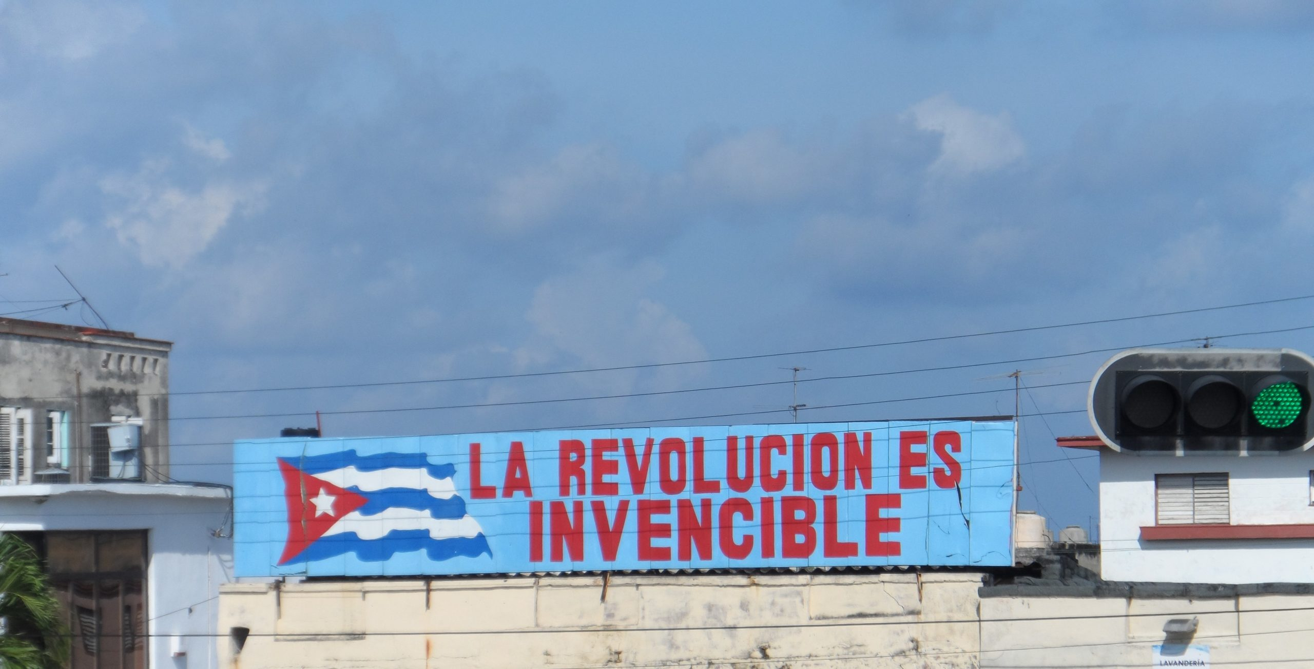 Sign in Cuba with flag