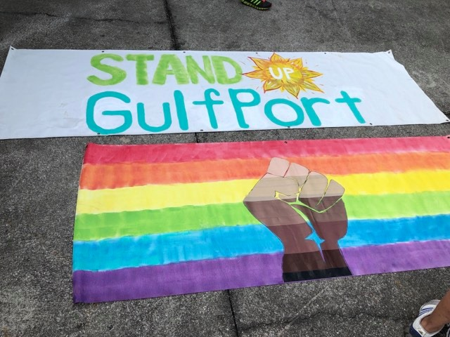 Gulfport Black Lives Matter signs LGBT Stand Up Gulfport