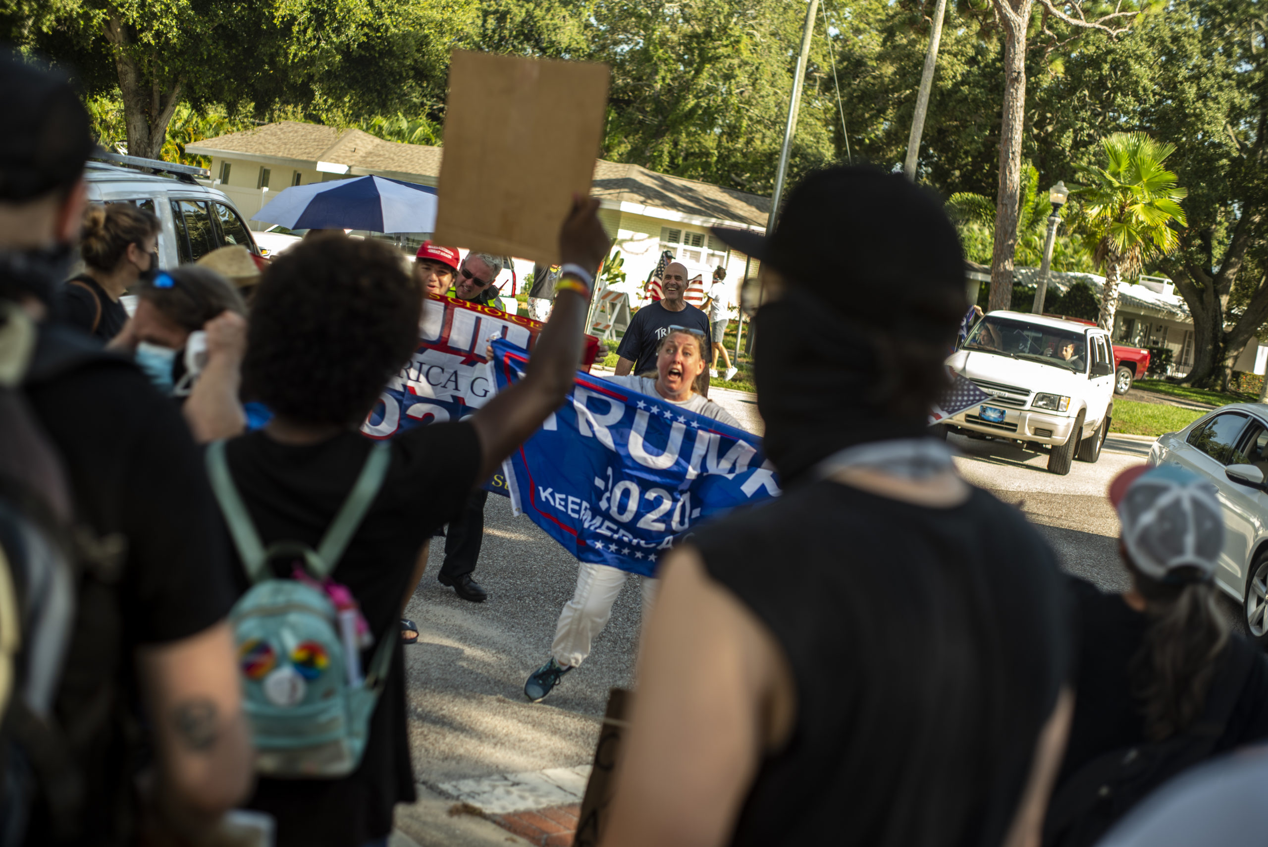 Trump supporters suqare off with Black Lives Matter protesters