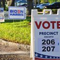 by Seán Kinane WMNF 2020 Nov 3 Election Day Gulfport (Pinellas County) Florida. Florida's most densely populated county. A swing county along the I-4 corridor in the country's largest swing state. vote sign precinct election 2020 Biden Harris Edmond Santana Rouson