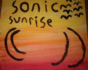 Sonic Sunrise drawing with birds