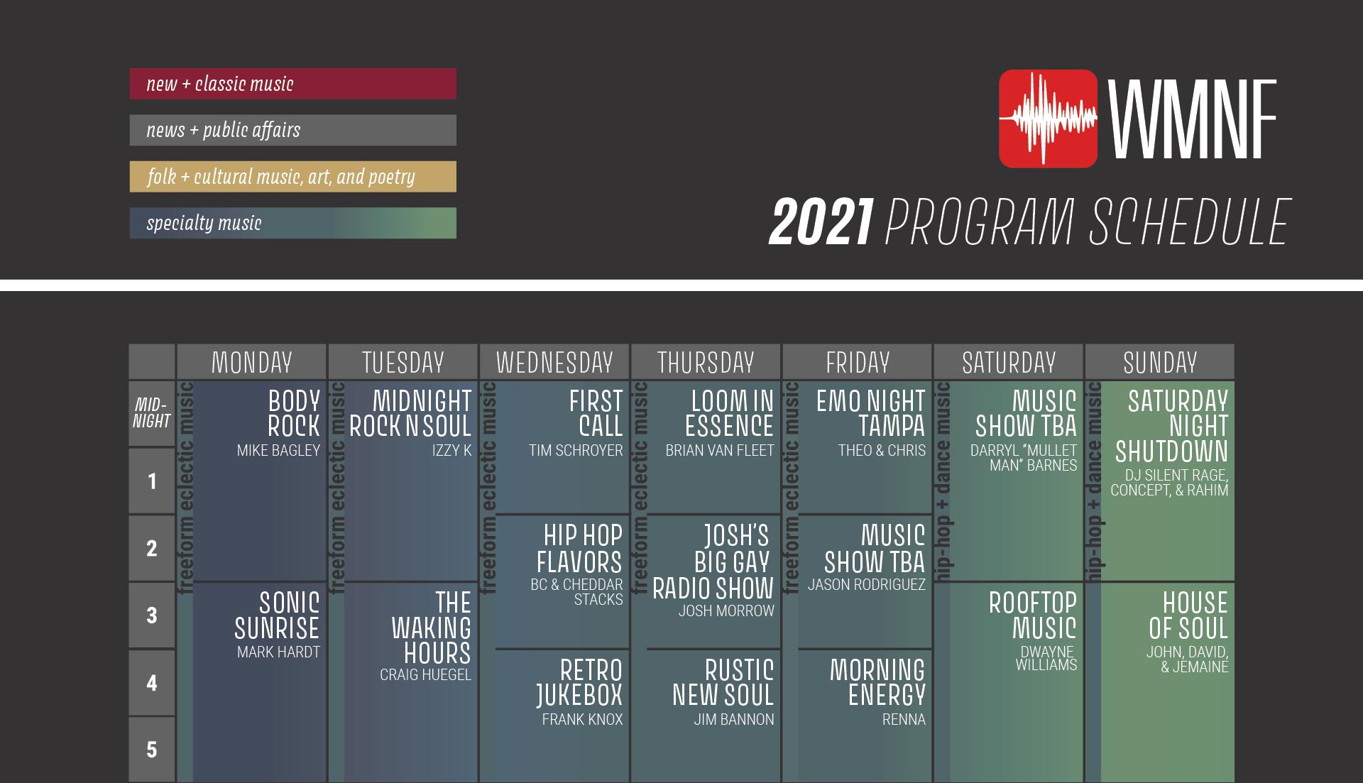 WMNF Program Schedule 2021 Updated