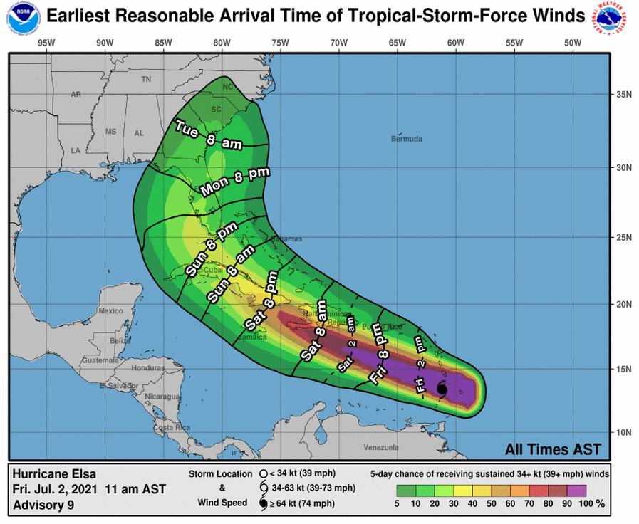 hurricane elsa tropical storm
